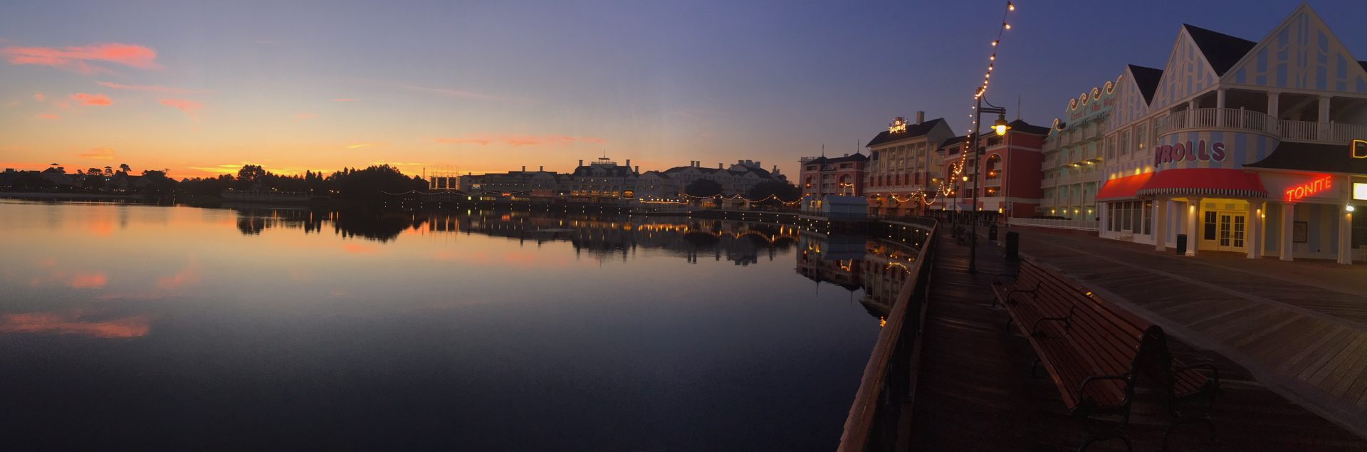 Disney World BoardWalk Panorama at sunset