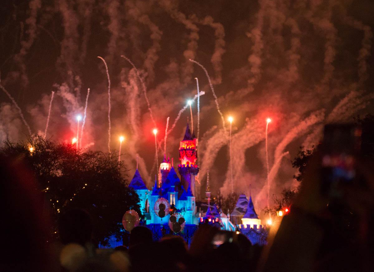 Disneyland Fireworks behind Sleeping Beauty Castle