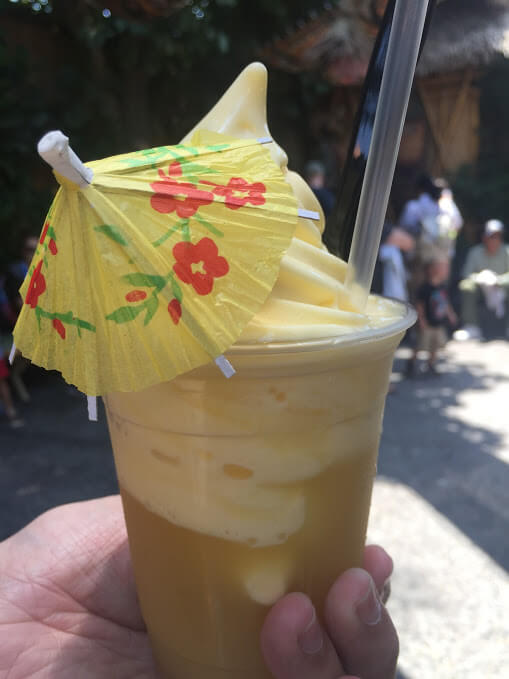 Dole Whip Float with a Cocktail Umbrella at Disneyland
