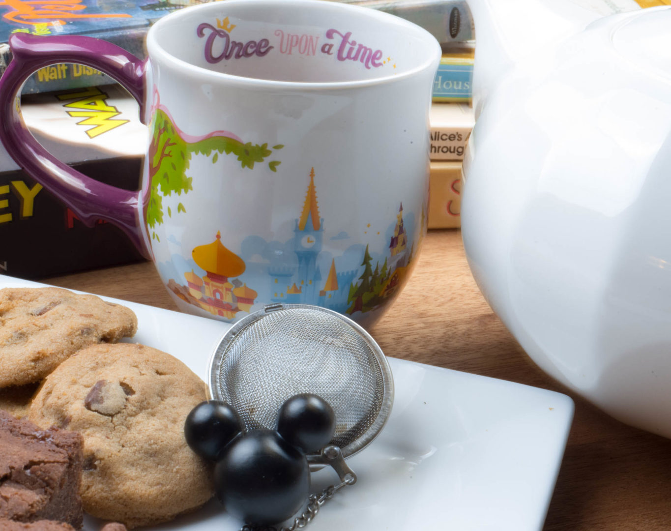 Disneyland Once Upon a Time Mug and Mickey Tea Strainers on a Tray of Cookies