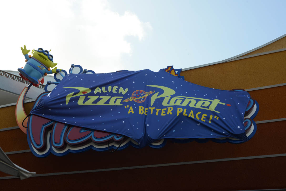 Pizza Planet Overlay at Redd Rocket's Pizza Port in Disneyland for Pixar Fest