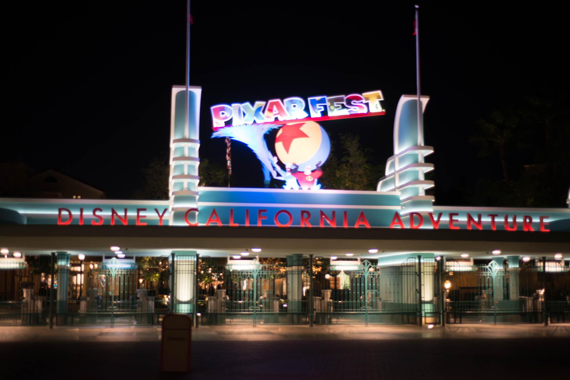 Pixar Fest Sign at Disneyland's California Adventure Entrance