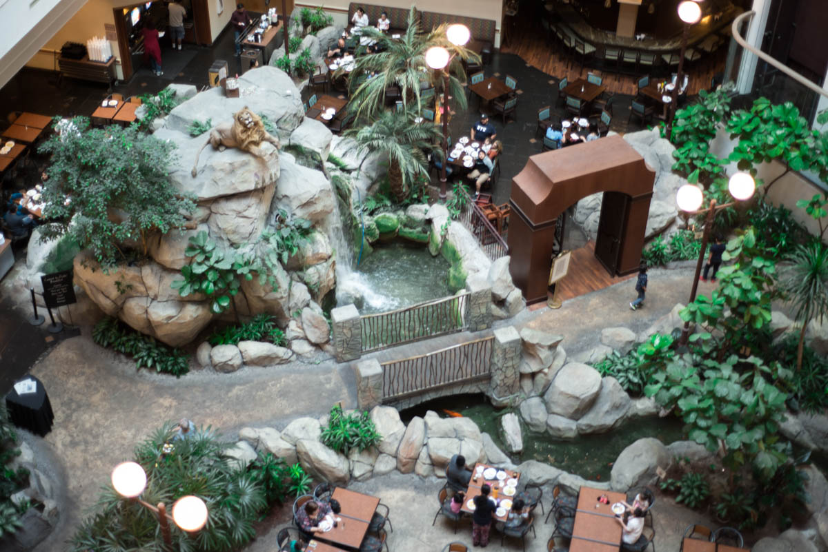 Embassy Suites Anaheim South Hotel Lobby with an Animatronic Lion near Disneyland