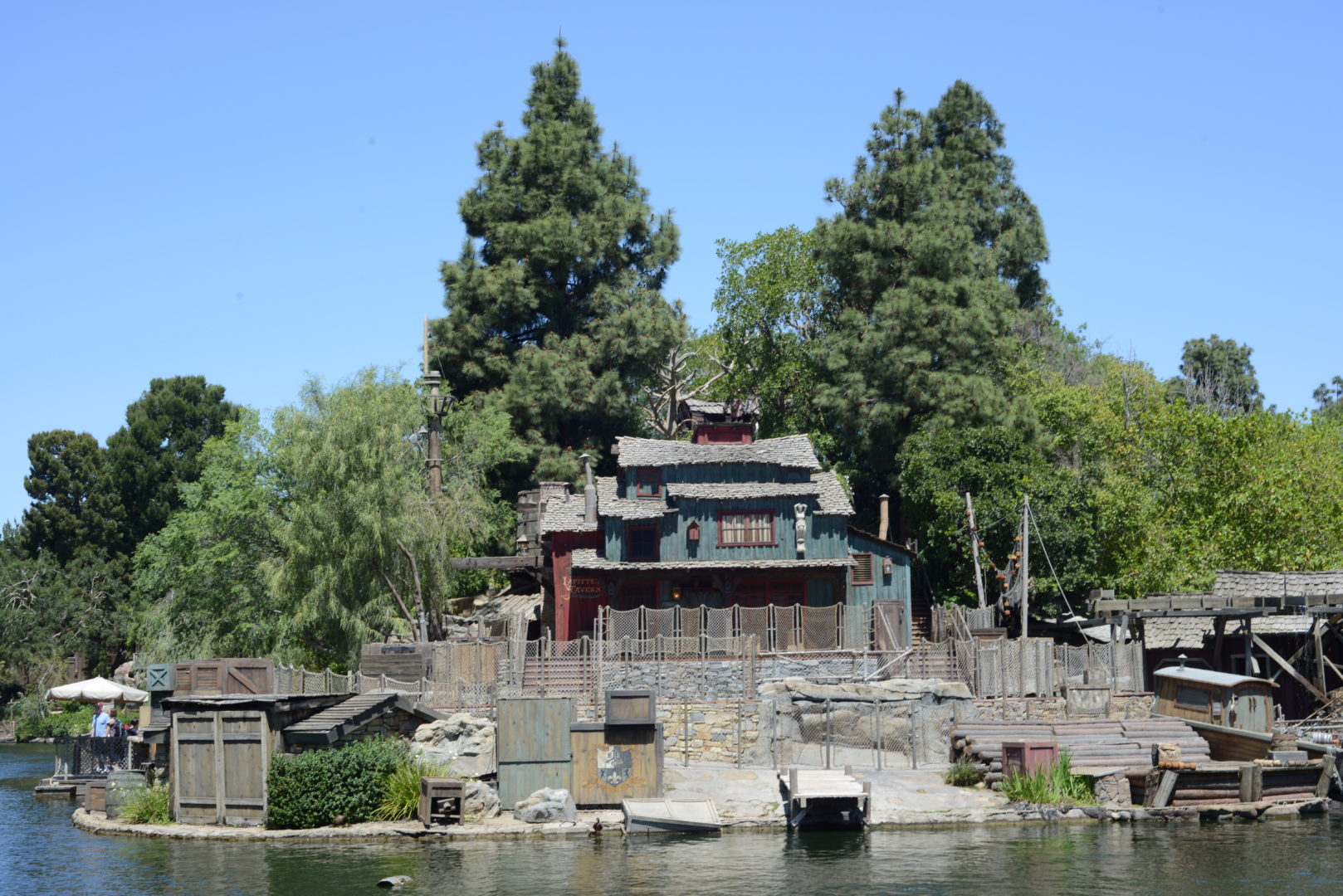 Pirate Lair on Tom Sawyer Island Surrounded by Rivers of America in Disneyland