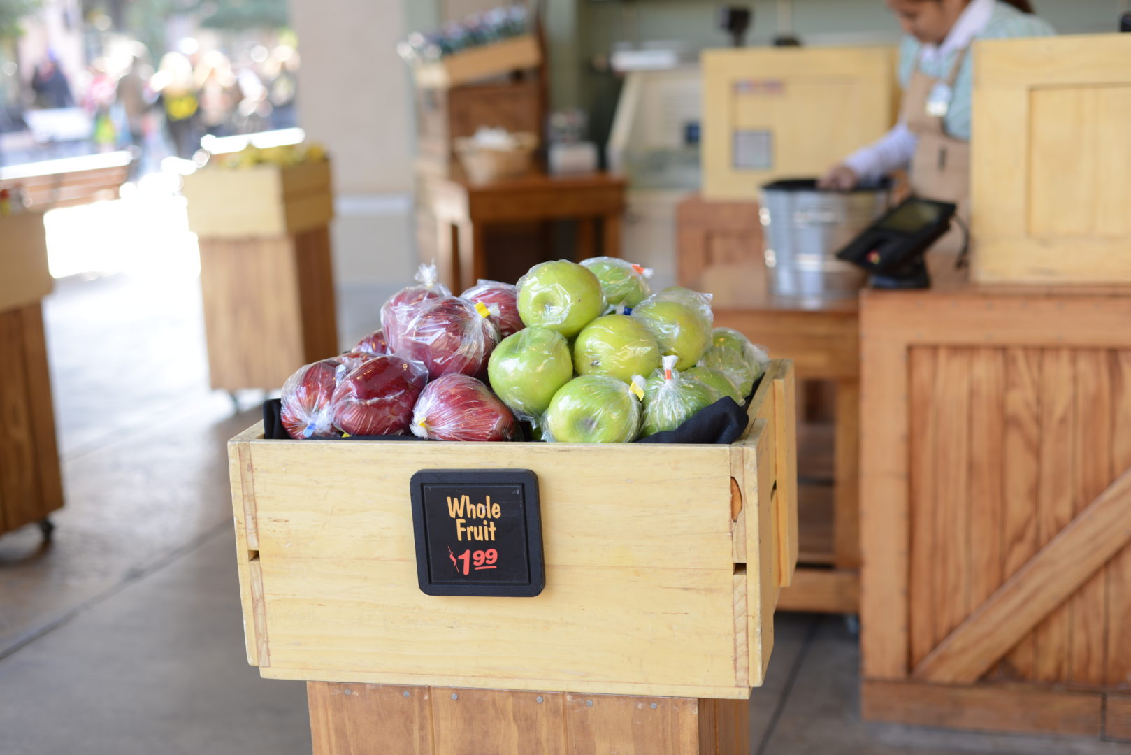 Wooden Box of Red and Green Apples at Mortimer's Market in Disneyland's California Adventure