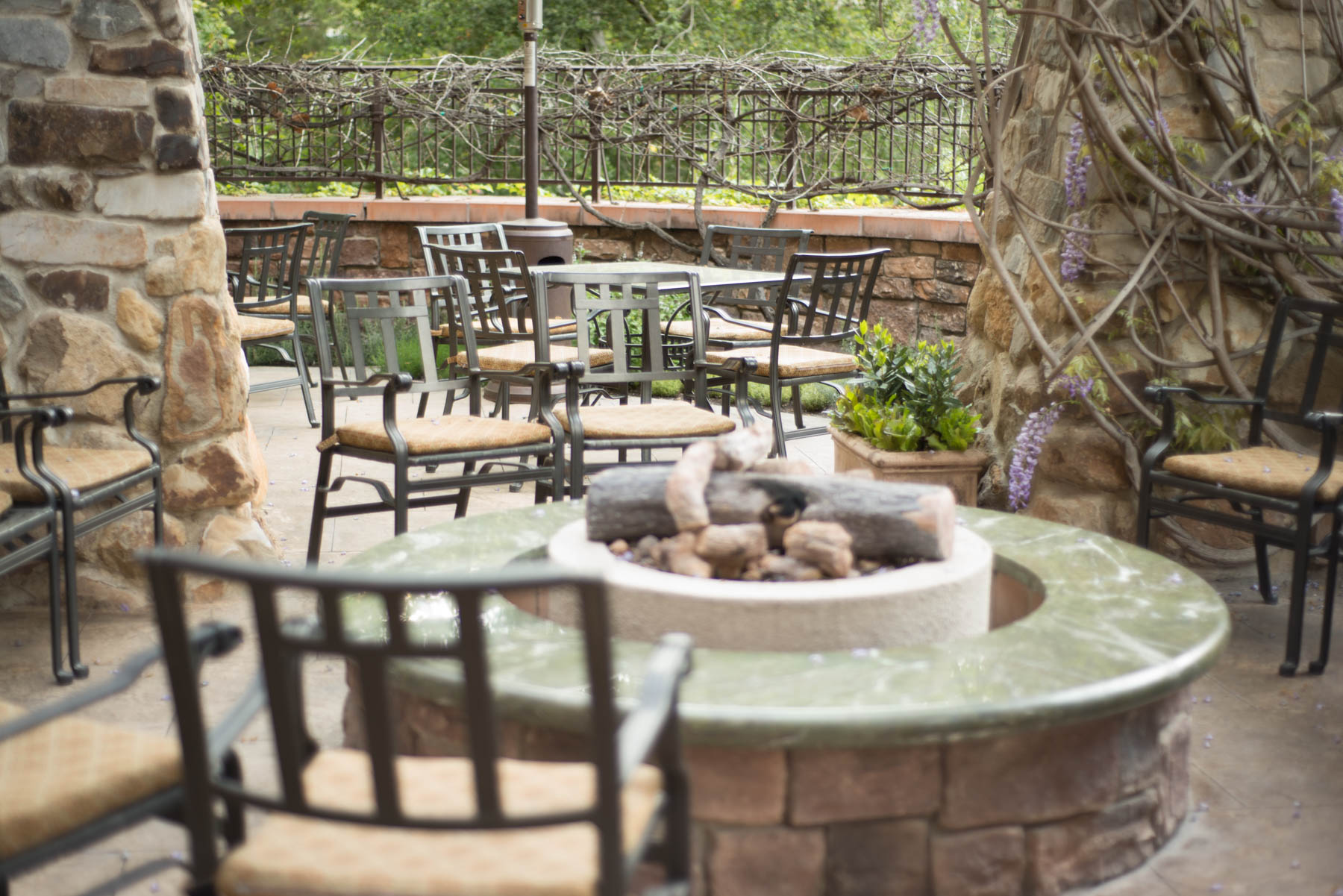 Napa Rose Restaurant Outside Patio and Fire Pits - Disneyland Hotel Activities for Adults