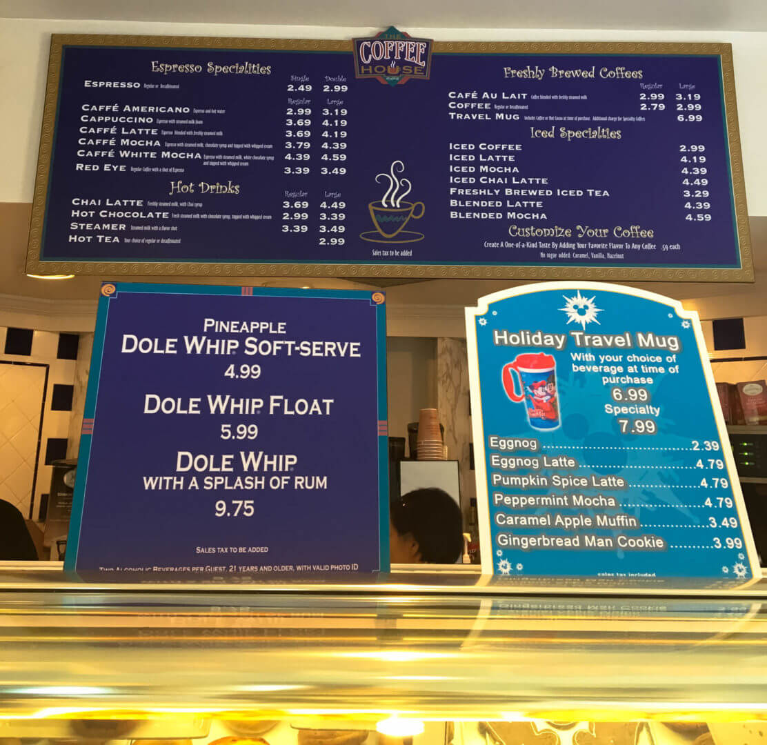 The Coffee House Menu at The Disneyland Hotel | Where to Find Good Coffee at Disneyland