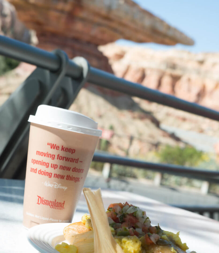 Coffee and Chicken Tamale Breakfast from Flo's V8 Cafe at California Adventure | Where to Find Good Coffee at Disneyland