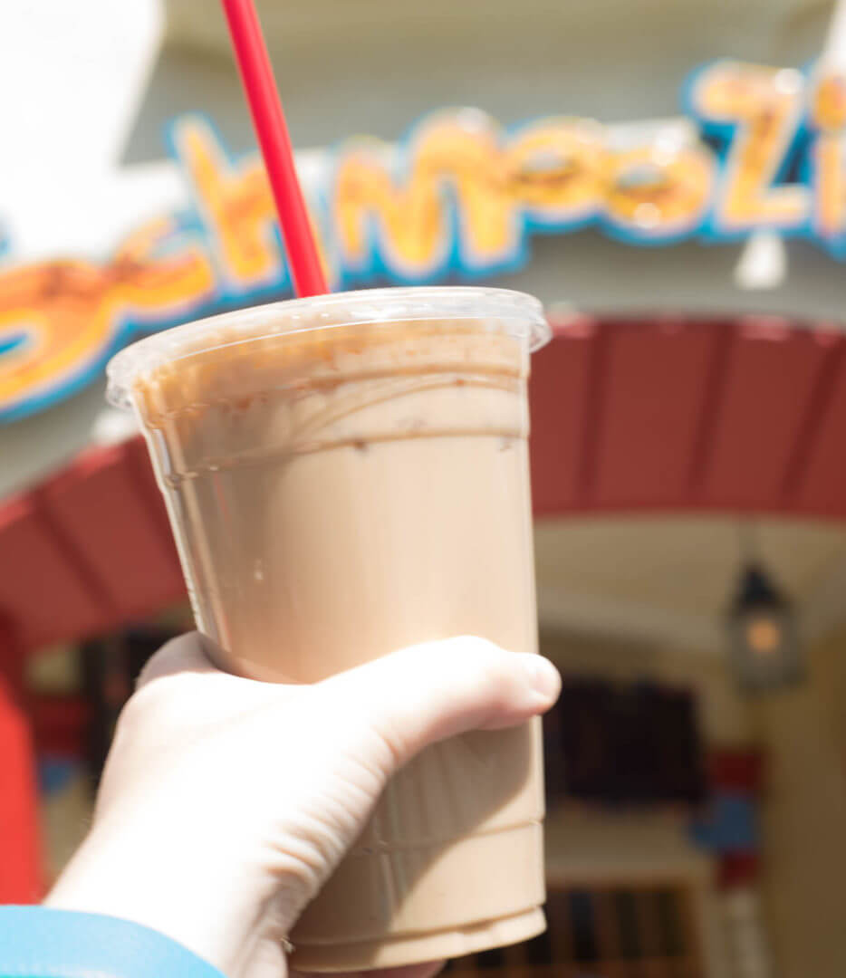 Iced Hazelnut Latte from Schmoozie's at California Adventure | Where to Find Good Coffee at Disneyland