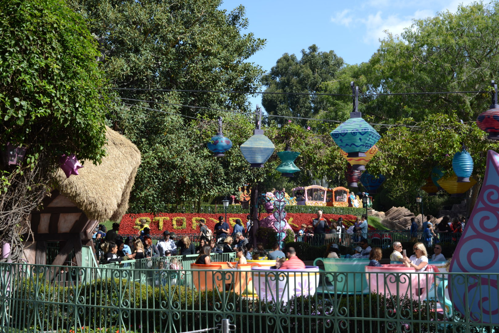 Mad Tea Party Attraction and Storybook Canal at Disneyland