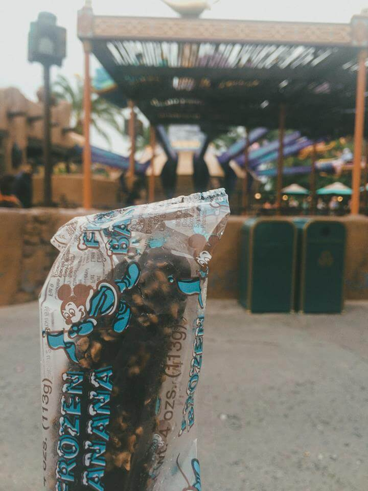 Frozen Chocolate Banana at Aladdin's Magic Carpet Ride in Disney World