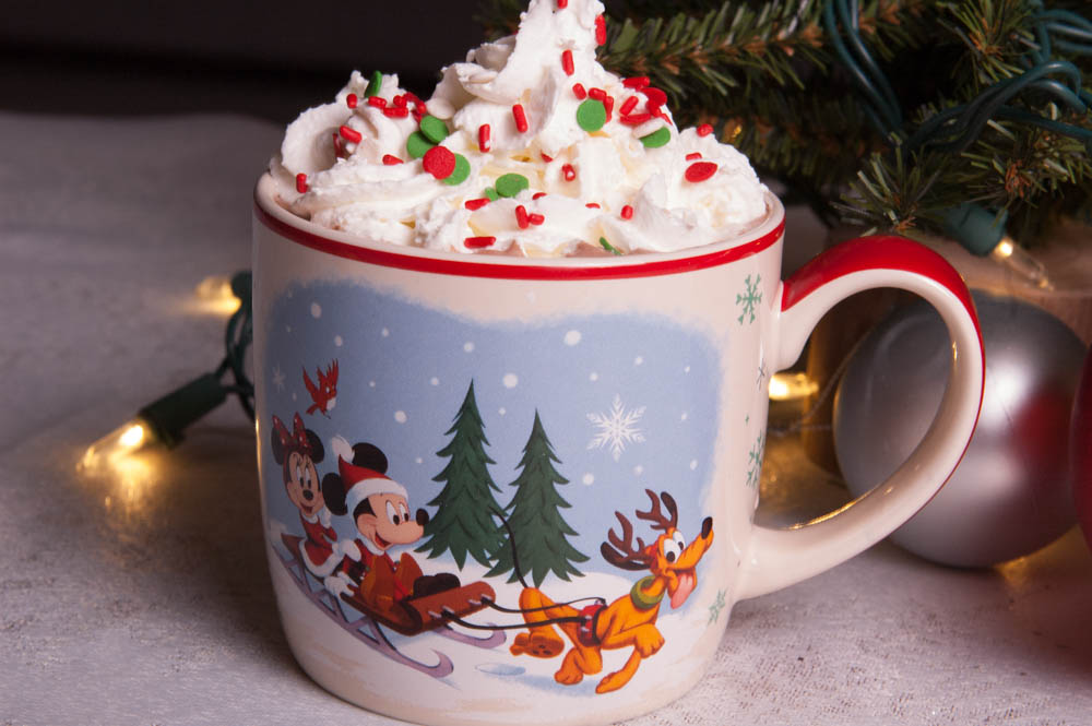 Christmas Mickey Mug with Hot Cocoa and Whipped Cream with Sprinkles on Top