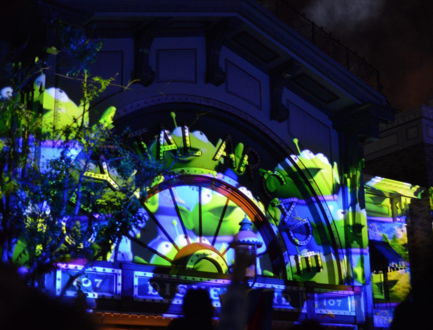Green Aliens Projected on Main Street for Together Forever Fireworks at Pixar Fest in Disneyland