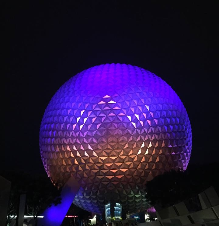Spaceship Earth at Night at Disney World's Epcot