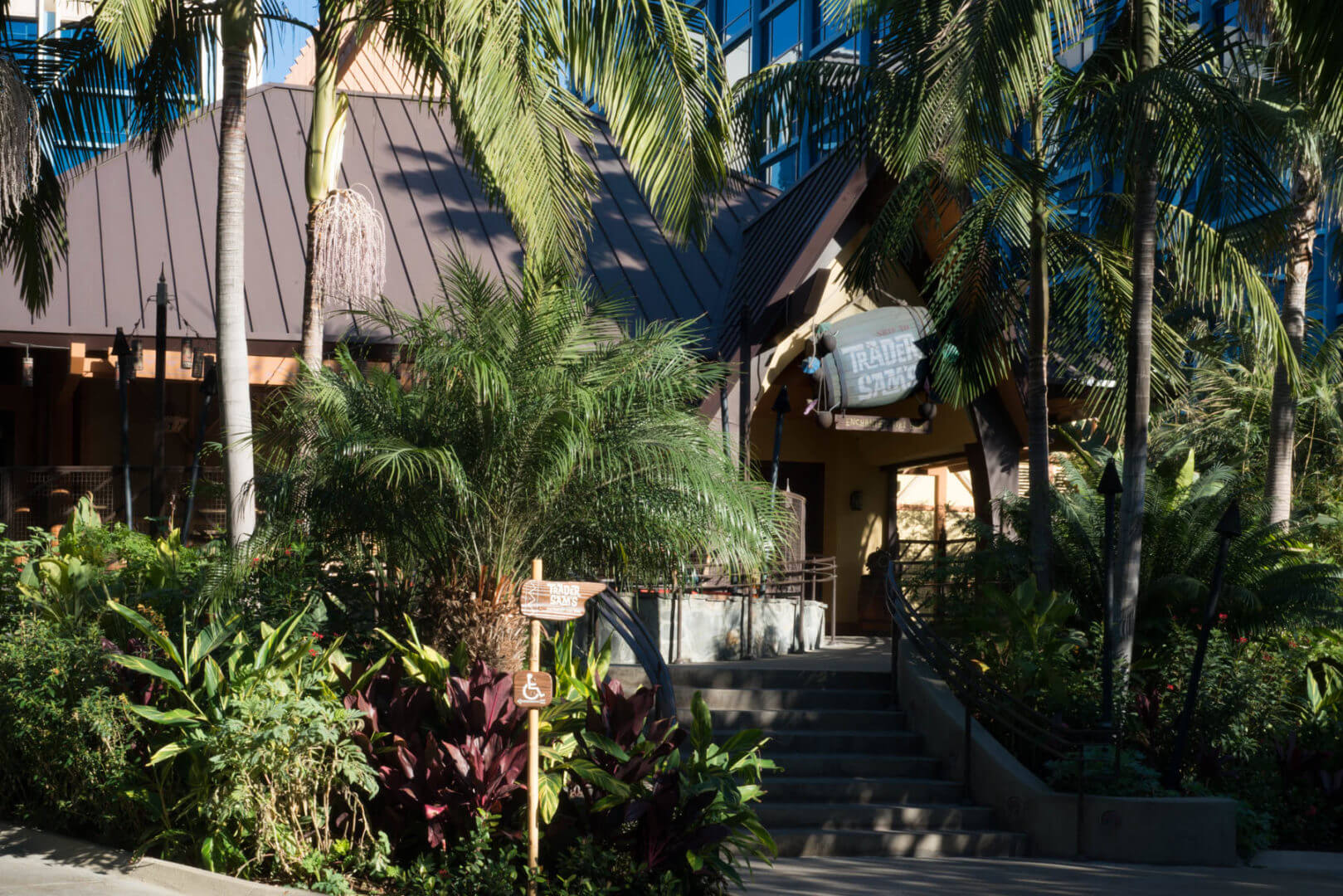 Trader Sam's Enchanted Tiki Bar and Lounge Entrance and Sign - Activities for Adults at Disneyland