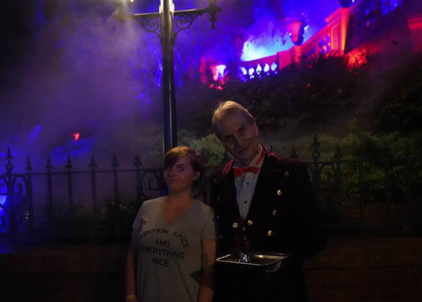 Butler at the Haunted Mansion during Halloween in Disney World