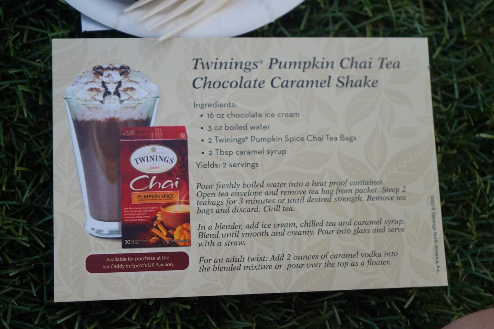 The recipe for the Pumpkin Chai Tea Chocolate Caramel Shake - Epcot Food & Wine Festival 2018