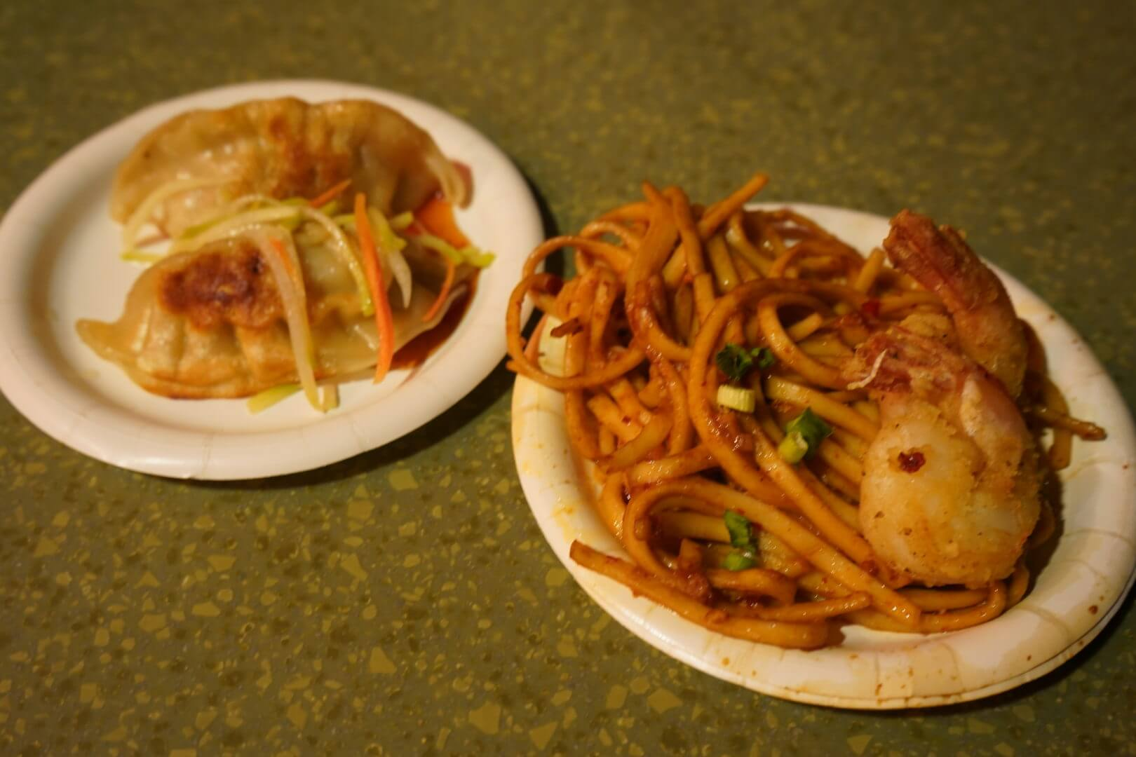 Black Pepper Shrimp with Garlic Noodles and Chicken Dumplings with Chinese Slaw (China) - Epcot Food & Wine