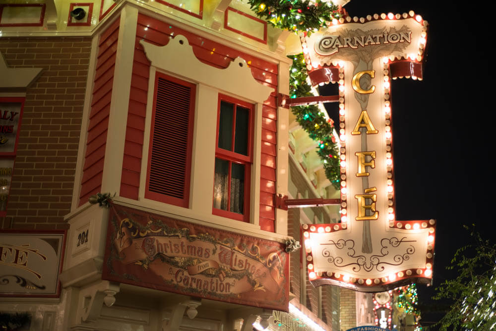 Christmas on Main Street - Carnation Cafe Decorations at Disneyland