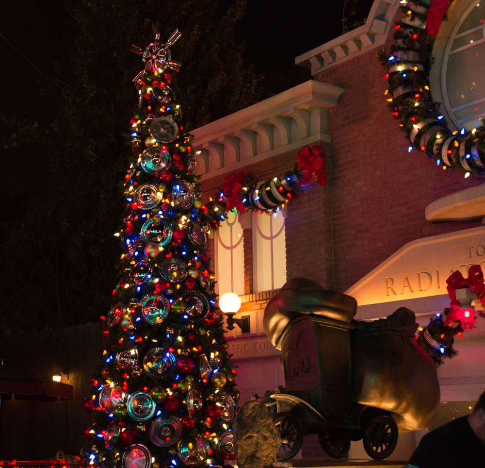 Christmas Tree and decorations in Cars Land