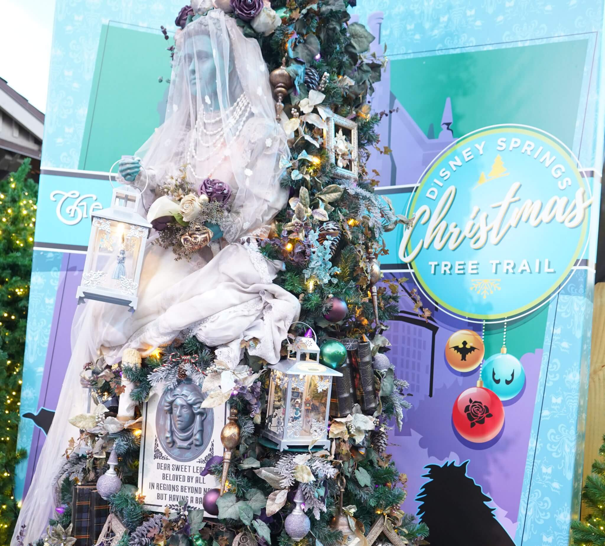 Haunted Mansion Bride in Christmas Tree Trail at Disney Springs