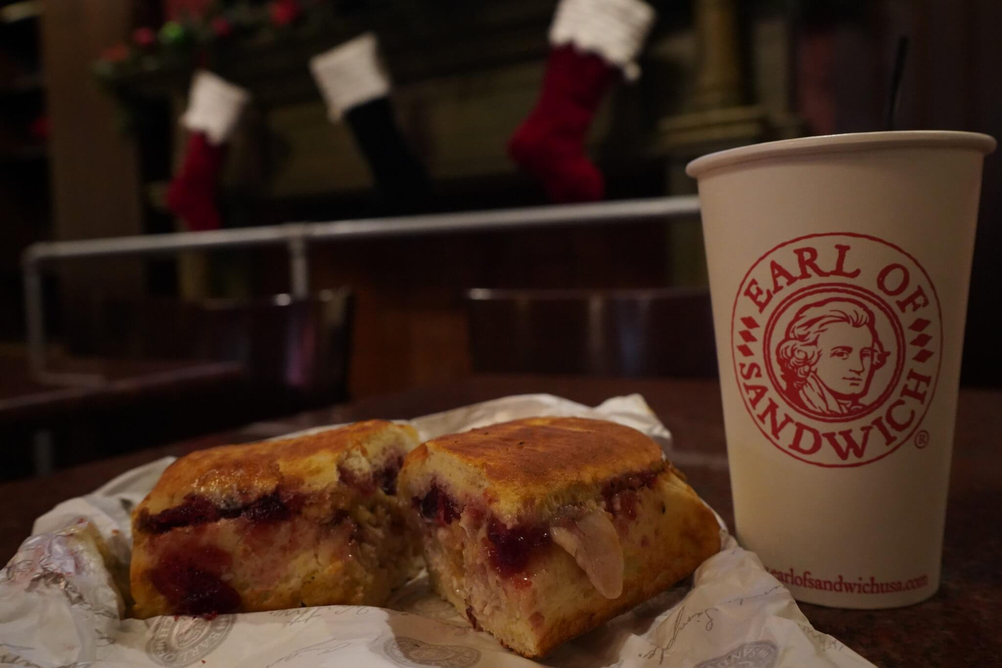 Holiday Turkey Sandwich with Stuffing and Cranberries and Coffee from Earl of Sandwich at Disney Springs
