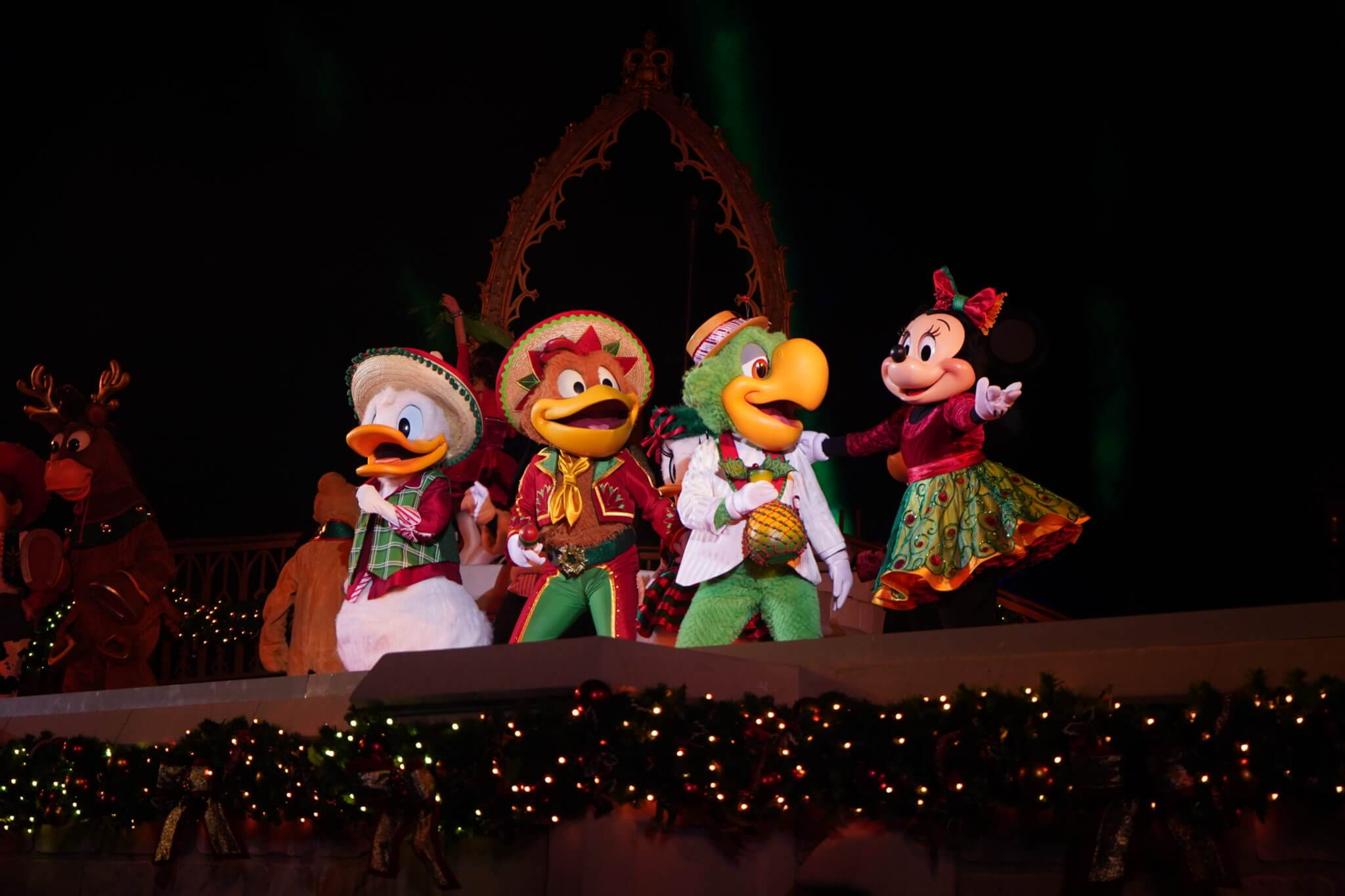 The Three Caballeros in Mickey's Merriest Christmas Celebration Castle Show in Disney World