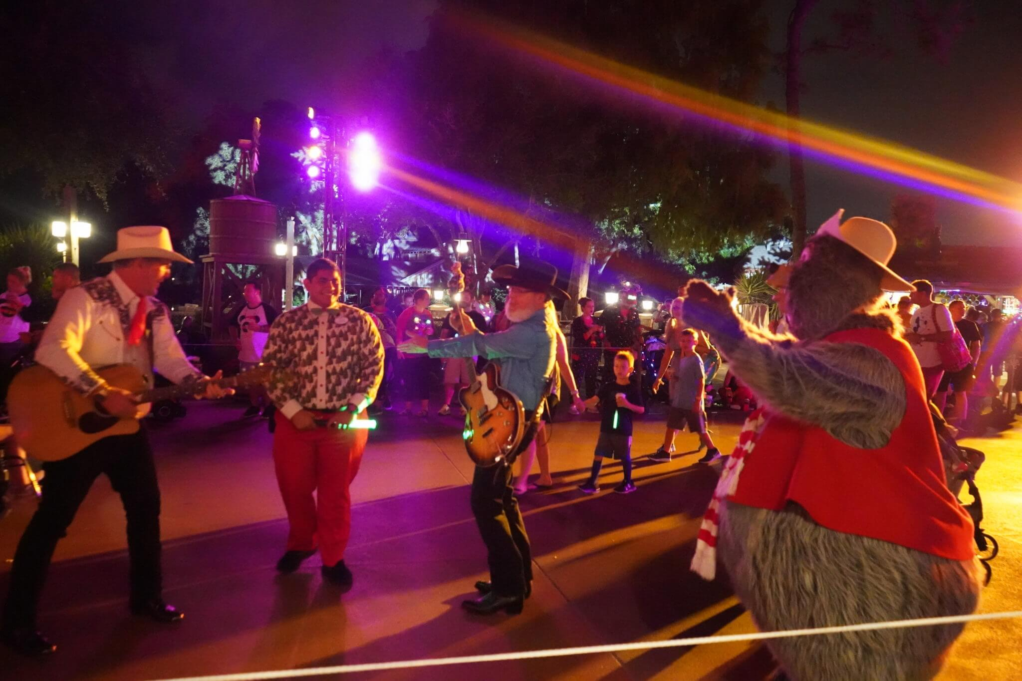 Big Al and The Reindeer Wranglers at Christmas Party in Disney World