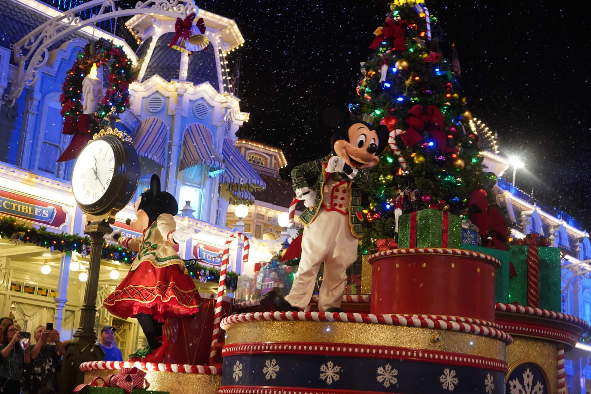 Mickey and Minnie Snow and Christmas Tree and Mickey Wreath on Main Street USA in Disney World