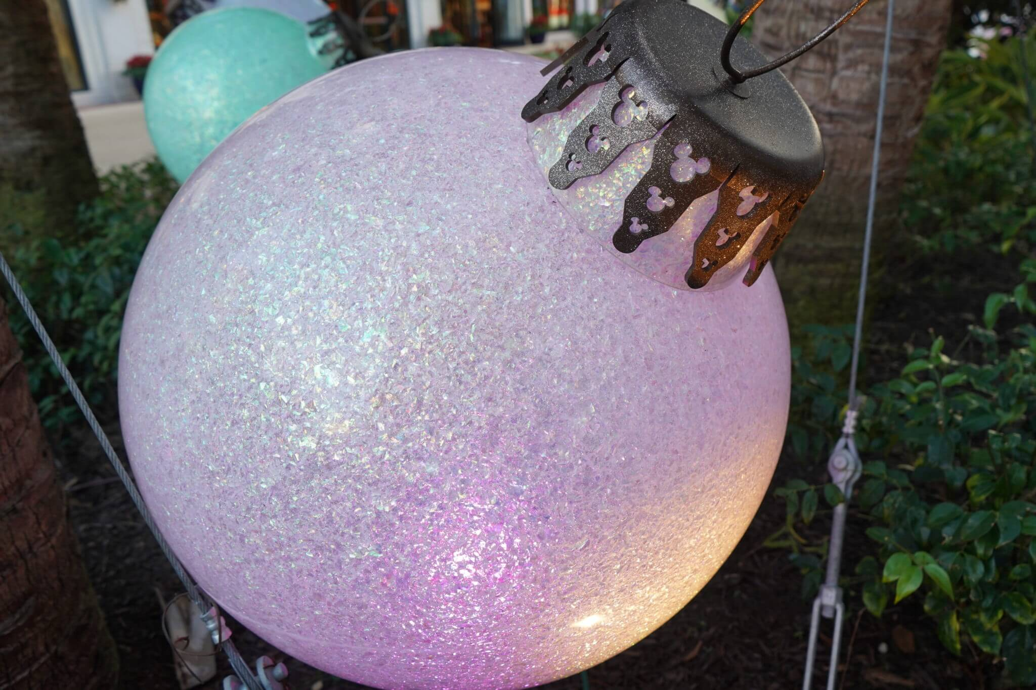 Hidden Mickey on a a giant ornament in Disney Springs Christmas Decorations