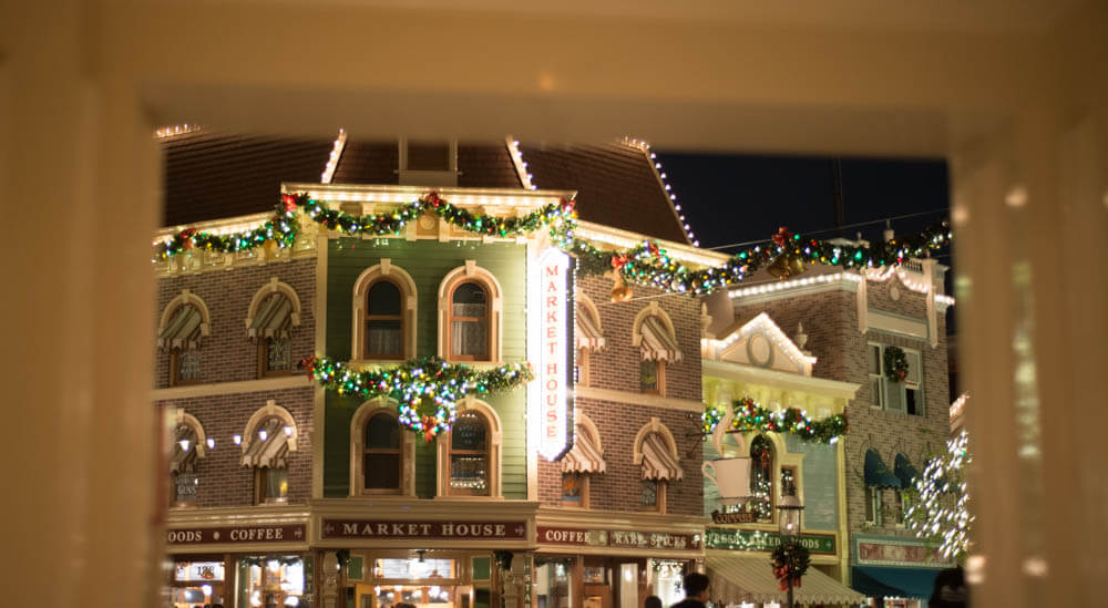 Disneyland Main Street at Christmas Door View